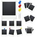 Set polaroid photo frames with clips and thumbtacks on white background vector illustration Stock Images