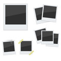Set polaroid photo frames on white background vector Royalty Free Stock Images