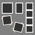 Set of Polaroid square frames isolated on transparent background