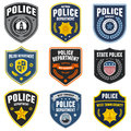 Set police law enforcement badges patches Royalty Free Stock Image