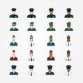 Set of policeman military pilot flight attendant woman pilot in