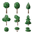 Set polygonal deciduous and coniferous trees and bushes