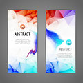 Set of polygonal and triangular waves geometric banners for modern design. Web, commerce, events Royalty Free Stock Photo