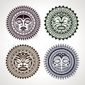 Set of polynesian tattoo styled masks vector illustration Stock Photography