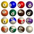 Set of pool balls in 3D