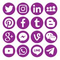 Set of popular black Circular social media icons or symbols printed on paper: , Twitter, Blogger ,Facebook, Instagram, Pinterest,G