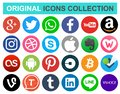 Set of popular circle social media and other icons