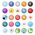Set of popular social media buttons icons isolated on white Royalty Free Stock Image
