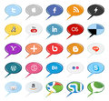 Set of popular social media buttons icons isolated on white Stock Photos