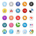 Set popular social media buttons isolated white Stock Photo