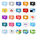 Set popular social media buttons isolated white Stock Image