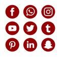 Set of popular social media logos vector web icon. Internet, facebook.