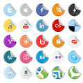 Set of popular social media sticker buttons icons isolated on white Stock Photo