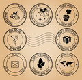 vector post stamps for holidays on aged background Royalty Free Stock Photo