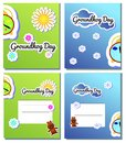 Set postcard for Groundhog Day cartoon holiday illustration design. Second February greeting poster, banner, card