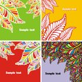 Set of postcards consist colorful leaves vector illustration Royalty Free Stock Photography