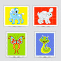 Set of postmarks wit a baby animals Royalty Free Stock Photo