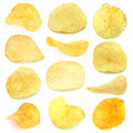 Set of potato chips Stock Photography
