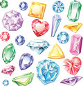Set of precious stones of different cuts and colors Royalty Free Stock Images