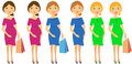 Set of pregnant woman Stock Images
