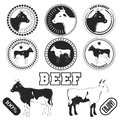 Set of premium beef labels, badges and design elements. Royalty Free Stock Photo