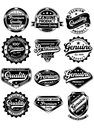 Set of premium quality labels fully editable vector illustration editable eps and genuine vintage on isolated white background Stock Photography