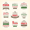 Set of premium quality pizza labels eps Royalty Free Stock Photo