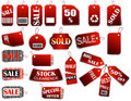 Set of price red tags Royalty Free Stock Photography