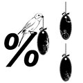 Set of the price tags vector illustrations with bird Royalty Free Stock Photo