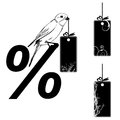 Set of the price tags vector illustrations with bird Royalty Free Stock Image