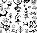 Set of primitive drawings ethnic hand drawn Royalty Free Stock Image