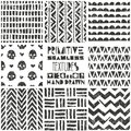 Set of 8 primitive geometric patterns. Tribal seamless backgrounds. Stylish trendy print. Modern abstract wallpaper Royalty Free Stock Photo
