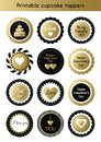 Set of printable gold and black cupcake toppers, tags for Valentine`s day party Royalty Free Stock Photo