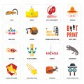 Set of private detective, antelope, knight on horse, katana, hot rod, under construction, kids club, 60th anniversary, train icons Royalty Free Stock Photo