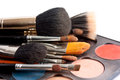 Set of professional brushes with the pallette of shadows on white background Stock Photography