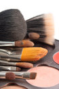 Set of professional brushes with the pallette of shadows on whitw background Royalty Free Stock Photos