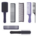 A set of professional combs and massage brushes for hair. Individual items for combing hair. Royalty Free Stock Photo