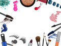 Set of professional cosmetic brushes and promotion square frame Royalty Free Stock Photo