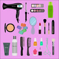Set of professional cosmetics, beauty tools and products: hairdryer, mirror, makeup brushes, shadows, lipsticks Royalty Free Stock Photo