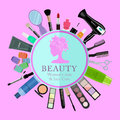 Set of professional cosmetics, various beauty tools and products: hairdryer, mirror, makeup brushes, shadows, lipstick