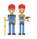Set of professional engineering workers people building team in helmets builders flat vector illustration and group service Stock Photos