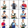 Set with professional plumbers and modern tools Royalty Free Stock Photo
