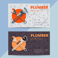 Set of professional plumbing service business card templates. Ve Royalty Free Stock Photo