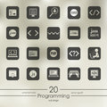 Set of programming icons modern for mobile interface on blurred background Stock Photos