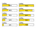Set of progress loading bars percent complete hand drawn from to yellow black marker elements for prototype Stock Photography