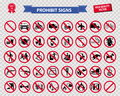 Set of prohibited sign Royalty Free Stock Photo