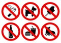 Set prohibited signs supermarket symbols Royalty Free Stock Photo