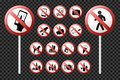 Set prohibition signs. Realistic glossy icons. Vector