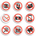 Set of 9 Prohibition Signs on White Round Plates.