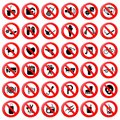Set of Prohibition Symbol Royalty Free Stock Photos